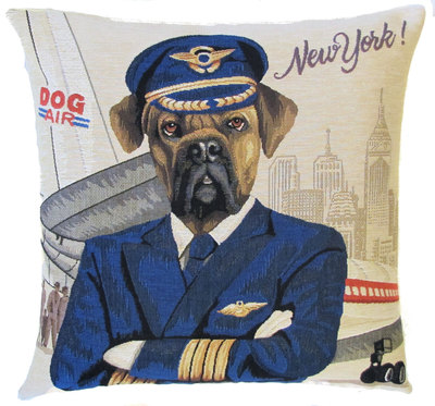 DOG RHODESIAN PILOT NEW YORK Belgian Tapestry Throw Pillow Cases - Decorative 18 X 18 Square Pillow Covers - Zippered Throw Pillow Case - Jacquard Woven Belgium Tapestry Cushion Covers - Fun Dressed Dog Throw Cushions - Dog Lover Gift - Rhodesian Pilot Airplane Air Force New York USA Home Decor Gifts