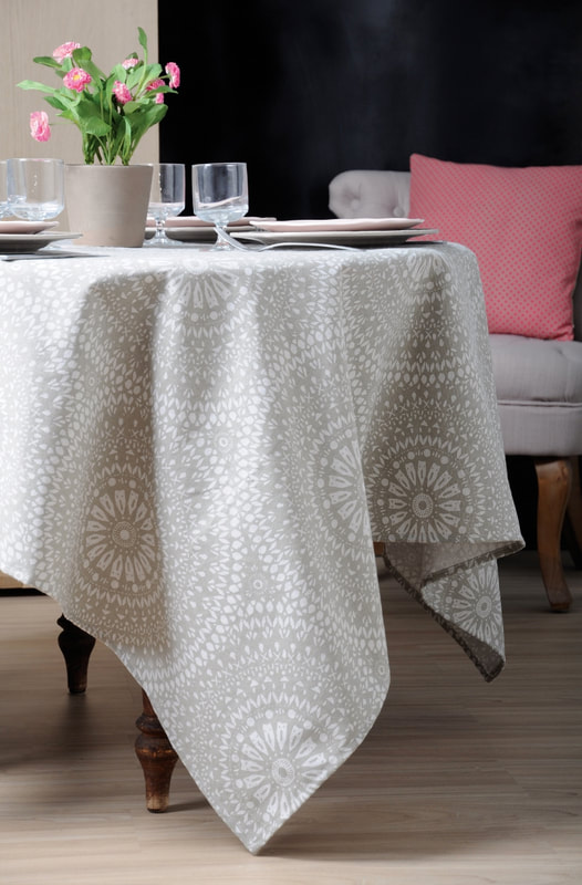 CASSIS NATURAL Acrylic Coated French Classic Tablecloth - French Oilcloth Indoor Outdoor Table Decor - Water and Stain Resistant Tablecloths - Elegant French Home Decor Gifts