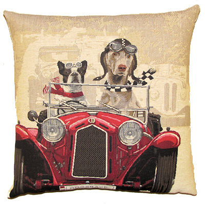 DOGS FRENCH BULLDOG AND WEIMARANER IN CLASSIC RED RACE CAR European Belgian Tapestry Throw Pillow Cases - Decorative 18 X 18 Pillow Covers - Zippered Throw Pillow Case - Jacquard Woven Belgium Tapestry Cushion Covers - Fun Dressed Dog Throw Cushions - Dog Lover Gift - Antique Classic Cars Home Decor