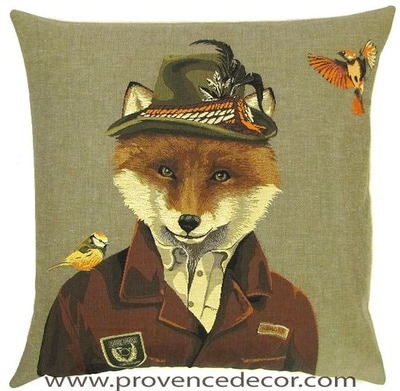 FOREST RANGER FOX AND BIRDS Belgian Tapestry Throw Pillow Cases - Decorative 18 X 18 Square Pillow Covers - Zippered Throw Pillow Case - Jacquard Woven Belgium Tapestry Cushion Covers - Fun Forest Animals Throw Cushions - Mountain House Forest Ranger Fox Birds Home Decor Gifts