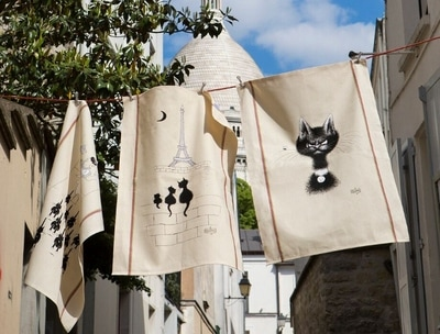 Provence Decor - Dubout Black Cats Collection French Designs Eco friendly Cotton Dishtowels