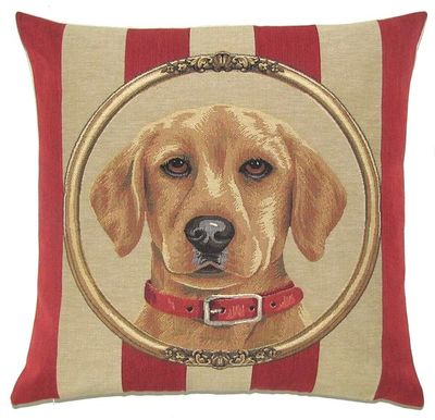 DOG YELLOW LABRADOR PORTRAIT Belgian Tapestry Throw Pillow Cases - Decorative 18 X 18 Square Pillow Covers - Zippered Throw Pillow Case - Jacquard Woven Belgium Tapestry Cushion Covers - Fun Dressed Dog Throw Cushions - Dog Lover Gift - Yellow Labrador Home Decor Gifts