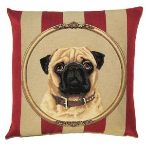 DOG PUG PORTRAIT Belgian Tapestry Throw Pillow Cases - Decorative 18 X 18 Square Pillow Covers - Zippered Throw Pillow Case - Jacquard Woven Belgium Tapestry Cushion Covers - Fun Dressed Dog Throw Cushions - Dog Lover Gift - Pug Royal King Queen Dog Home Decor Gifts