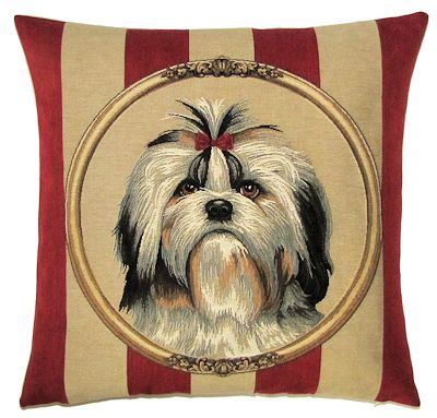DOG SHIH TZU PORTRAIT Belgian Tapestry Throw Pillow Cases - Decorative 18 X 18 Square Pillow Covers - Zippered Throw Pillow Case - Jacquard Woven Belgium Tapestry Cushion Covers - Fun Dressed Dog Throw Cushions - Dog Lover Gift - Shih Tzu Home Decor Gifts