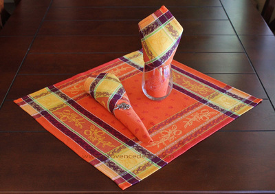 LEMON ORANGE French Provence Jacquard Woven Cotton Napkins Set - Table Decor - French Home Decor