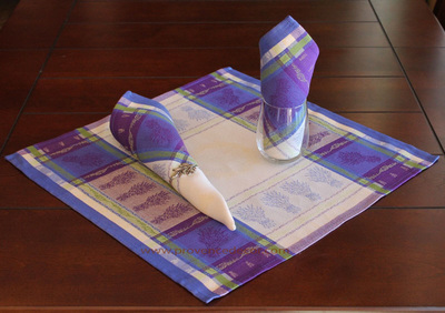 LAVANDINE French Provence Jacquard Woven Cotton Napkins Set - Table Decor - French Home Decor