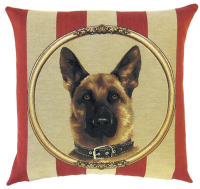 DOG GERMAN SHEPHERD PORTRAIT Belgian Tapestry Throw Pillow Cases - Decorative 18 X 18 Square Pillow Covers - Zippered Throw Pillow Case - Jacquard Woven Belgium Tapestry Cushion Covers - Fun Dressed Dog Throw Cushions - Dog Lover Gift - German Shepherd Home Decor Gifts