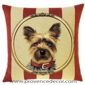 DOG YORKSHIRE TERRIER - YORKIE PORTRAIT Belgian Tapestry Throw Pillow Cases - Decorative 18 X 18 Square Pillow Covers - Zippered Throw Pillow Case - Jacquard Woven Belgium Tapestry Cushion Covers - Fun Dressed Dog Throw Cushions - Dog Lover Gift -Yorkshire Home Decor Gifts