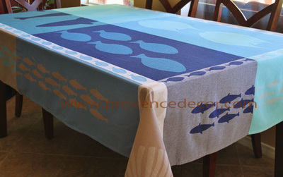 OCEAN BLUE TURQUOISE Teflon Cotton Coated Jacquard Woven French Tablecloths - Easy Clean Elegant Decorative Party Table Cloth - Beach Fish Lovers Home Table Decor Gifts