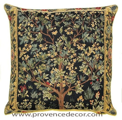 "The TREE OF LIFE Tapestry Cushion is a replica of William Morris famous artwork in Tapestry. The details are exquisite, looks like a real painting. These gorgeous Jacquard Tapestry Throw Pillow Cases are the authentic GOBELIN Tapestry woven with 100% high quality cotton, lined with a soft beige velvet backing and close with a zipper. Size: 18"" X 18"""