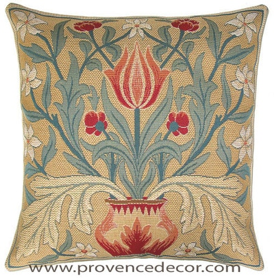"The TULIP Tapestry Cushion is a replica of William Morris famous artwork in Tapestry. The details are exquisite, looks like a real painting. These gorgeous Jacquard Tapestry Throw Pillow Cases are the authentic GOBELIN Tapestry woven with 100% high quality cotton, lined with a soft beige velvet backing and close with a zipper. Size: 18"" X 18"""
