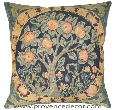 "The ORANGE TREE Tapestry Cushion is a replica of William Morris famous artwork in Tapestry. The details are exquisite, looks like a real painting. These gorgeous Jacquard Tapestry Throw Pillow Cases are the authentic GOBELIN Tapestry woven with 100% high quality cotton, lined with a soft beige velvet backing and close with a zipper. Size: 18"" X 18"""