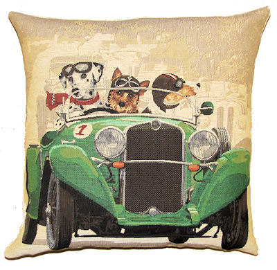 "DOGS DALMATIAN, YORKSHIRE TERRIER AND JACK RUSSELL IN CLASSIC GREEN RACE CAR Tapestry Pillow Covers are irresistible! They are woven on a Jacquard loom (crafted with true traditional tapestry technique) with 100% high quality cotton thread, lined with a plain beige cotton backing and close with a zipper. Size: 18"" X 18"""