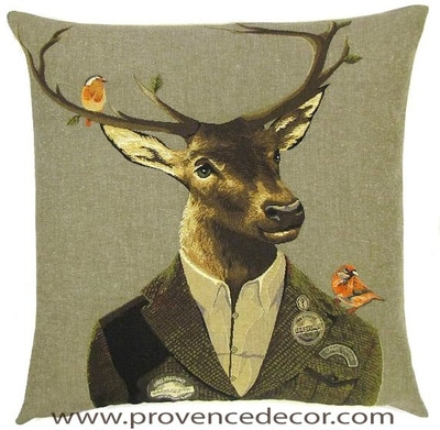 FOREST RANGER DEER AND BIRDS Belgian Tapestry Throw Pillow Cases - Decorative 18 X 18 Square Pillow Covers - Zippered Throw Pillow Case - Jacquard Woven Belgium Tapestry Cushion Covers - Fun Forest Animals Throw Cushions - Mountain House Forest Ranger Deer Stag Birds Home Decor Gifts