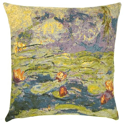 "The WATER LILIES Tapestry Cushion is a replica of Claude Monet's famous artwork in Tapestry. The details are exquisite, looks like a real painting. These gorgeous Jacquard Tapestry Throw Pillow Cases are the authentic GOBELIN Tapestry woven with 100% high quality cotton, lined with a soft beige velvet backing and close with a zipper. Size: 18"" X 18"""