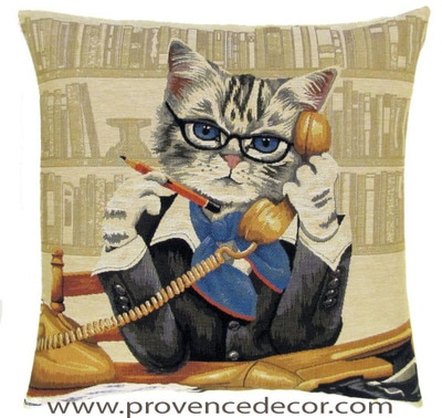 CAT SECRETARY European Belgian Tapestry Throw Pillow Cases - Decorative 18 X 18 Pillow Covers - Zippered Throw Pillow Case - Jacquard Woven Belgium Tapestry Cushion Covers - Fun Dressed Cat Throw Cushions - Cat Lover Gift - Gifts for Secretaries - Home Decor