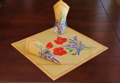 POPPY LAVENDER YELLOW French Decorative Flower Napkin Set - High Quality Soft Absorbent Printed Cotton -French Country Table Home Decor Gift