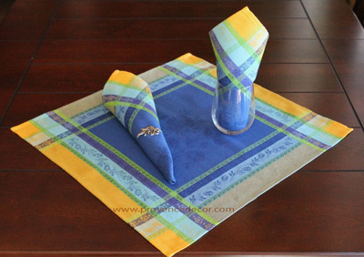 ARLES BLUE French Provence Jacquard Woven Cotton Napkins Set - Table Decor - French Home Decor