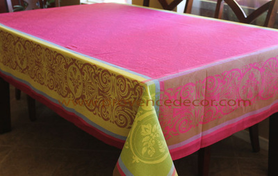 RENAISSANCE PINK Jacquard Woven Teflon Cotton Coated French Tablecloths - Easy Clean Elegant Modern French Party Table Decor - French Home Decor Gifts