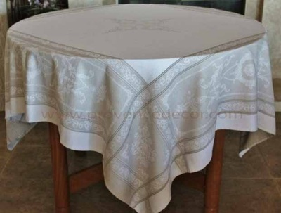 PARISIENNE LINEN Teflon Cotton Coated Jacquard Woven French Tablecloths - Easy Clean Elegant Decorative Party Table Cloth - French Classic Home Table Decor Gifts