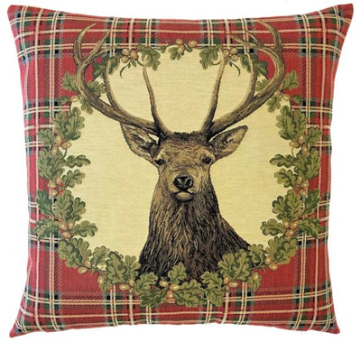 DEER PORTRAIT RED Belgian Tapestry Throw Pillow Cases - Decorative 18 X 18 Square Pillow Covers - Zippered Throw Pillow Case - Jacquard Woven Belgium Tapestry Cushion Covers - Fun Forest Animals Throw Cushions - Mountain House Forest Deer Stag Home Decor Gifts