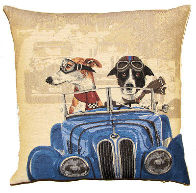 DOGS WHIPPET AND BORDER COLLIE IN CLASSIC BLUE RACE CAR European Belgian Tapestry Throw Pillow Cases - Decorative 18 X 18 Pillow Covers - Zippered Throw Pillow Case - Jacquard Woven Belgium Tapestry Cushion Covers - Fun Dressed Dog Throw Cushions - Dog Lover Gift - Antique Classic Cars Home Decor