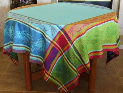CEZANNE Jacquard Woven Teflon Cotton Coated French Tablecloths - Easy Clean Elegant Party Table Decor - French Country Home Decor Gifts