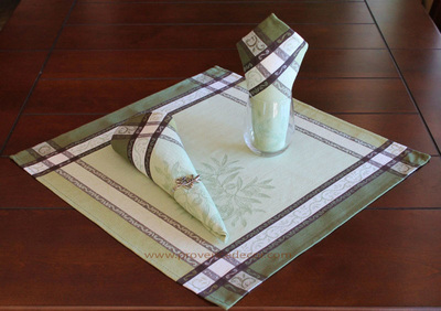 OLIVE GREEN French Provence Jacquard Woven Cotton Napkins Set - Table Decor - French Home Decor