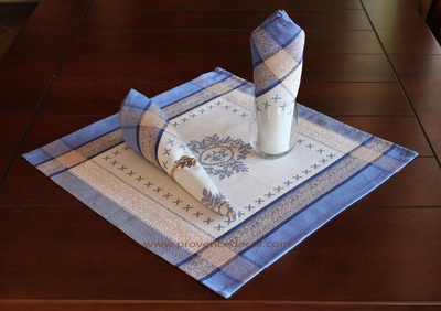 ELEGANCE BLUE French Provence Jacquard Woven Cotton Napkins Set - Table Decor - French Home Decor