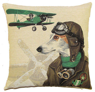 DOG PILOT WHIPPET AND VINTAGE GREEN PLANE European Belgian Tapestry Throw Pillow Cases - Decorative 18 X 18 Square Pillow Covers - Zippered Throw Pillow Case - Jacquard Woven Belgium Tapestry Cushion Covers - Fun Dressed Dog Throw Cushions - Dog Lover Gift - Antique Classic Vintage Planes Home Decor