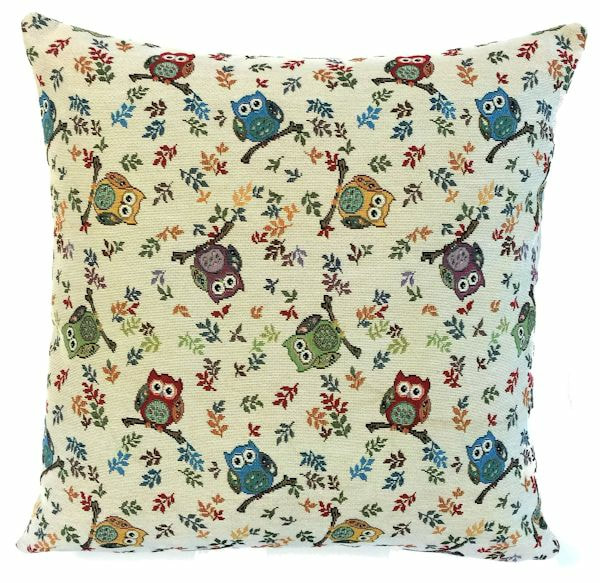 MULTICOLOR OWLS Belgian Tapestry Throw Pillow Cases - Decorative 18 X 18 Square Pillow Covers - Zippered Throw Pillow Case - Jacquard Woven Belgium Tapestry Cushion Covers - Owls Reversible Throw Cushions - Elegant Home Decor Gifts