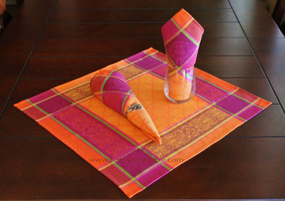 RENAISSANCE ORANGE French Provence Jacquard Woven Cotton Napkins Set - Table Decor - French Home Decor