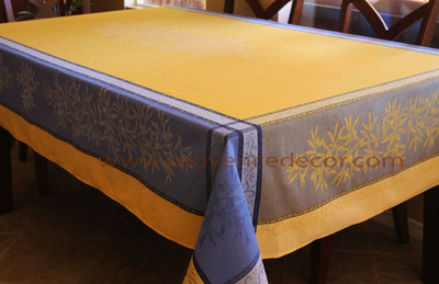 OLIVE YELLOW BLUE Jacquard Woven Teflon Cotton Coated French Tablecloths - Easy Clean Elegant Party Table Decor - French Country Olives Home Decor Gifts