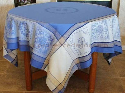 ELEGANCE BLUE Teflon Cotton Coated Jacquard Woven French Tablecloths - Easy Clean Elegant Decorative Party Table Cloth - French Classic Home Table Decor Gifts