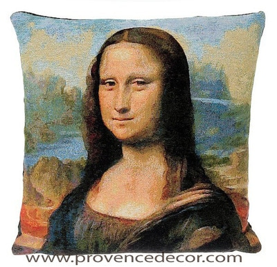 "The MONA LISA - LA GIOCONDA Tapestry Cushion is a replica of Leonardo da Vinci famous artwork in Tapestry. The details are exquisite, looks like a real painting. These gorgeous Jacquard Tapestry Throw Pillow Cases are the authentic GOBELIN Tapestry woven with 100% high quality cotton, lined with a soft black velvet backing and close with a zipper. Size: 18"" X 18"""