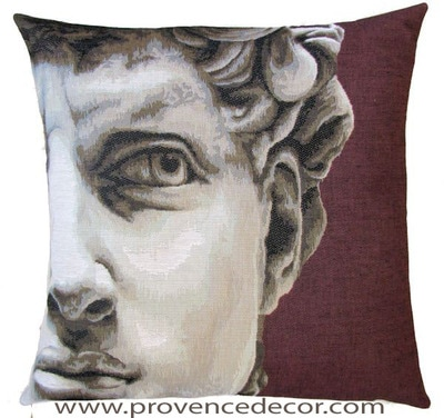 "The DAVID Tapestry Cushion Cover is a Gobelin Tapestry Art Design. The details are exquisite. These gorgeous Jacquard Tapestry Throw Pillow Cases are the authentic GOBELIN Tapestry woven with 100% high quality cotton, lined with a light beige cotton backing and close with a zipper. Size: 18"" X 18"""
