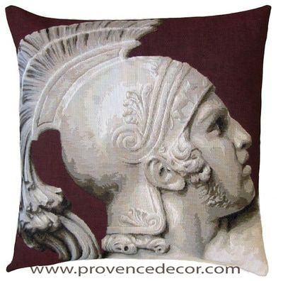 "The FALL OF ACHILLES Tapestry Cushion Cover is a Gobelin Tapestry Art Design. The details are exquisite. These gorgeous Jacquard Tapestry Throw Pillow Cases are the authentic GOBELIN Tapestry woven with 100% high quality cotton, lined with a light beige cotton backing and close with a zipper. Size: 18"" X 18"""