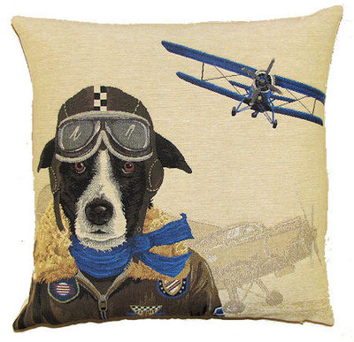 DOG PILOT BORDER COLLIE AND VINTAGE BLUE PLANE European Belgian Tapestry Throw Pillow Cases - Decorative 18 X 18 Square Pillow Covers - Zippered Throw Pillow Case - Jacquard Woven Belgium Tapestry Cushion Covers - Fun Dressed Dog Throw Cushions - Dog Lover Gift - Antique Classic Vintage Planes Home Decor