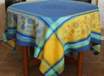 ARLES Jacquard Woven Teflon Cotton Coated French Tablecloths - Easy Clean Elegant Party Table Decor - French Country Home Decor Gifts