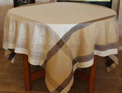 ELEGANCE BEIGE Teflon Cotton Coated Jacquard Woven French Tablecloths - Easy Clean Elegant Decorative Party Table Cloth - French Classic Home Table Decor Gifts