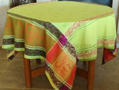 LEMON GREEN Jacquard Woven Teflon Cotton Coated French Tablecloths - Easy Clean Elegant Orange Table Decor - French Country Fruits Home Decor Gifts