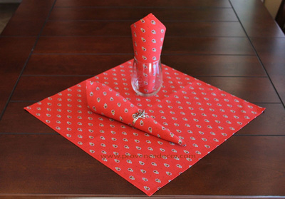 AVIGNON RED WHITE French Decorative Napkin Set - High Quality Absorbent Soft Printed Cotton - French Country Marat Avignon Design - Table Home Decor Gifts