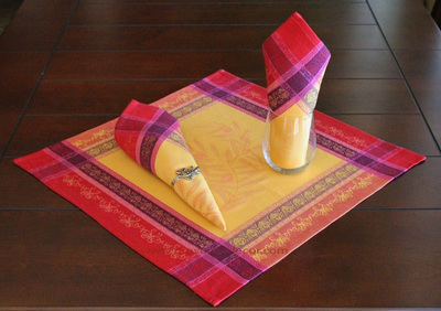 OLIVE YELLOW FUSCHIA French Provence Jacquard Woven Cotton Napkins Set - Table Decor - French Home Decor