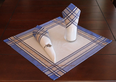 LAVENDER WHITE BLUE French Provence Jacquard Woven Cotton Napkins Set - Table Decor - French Home Decor