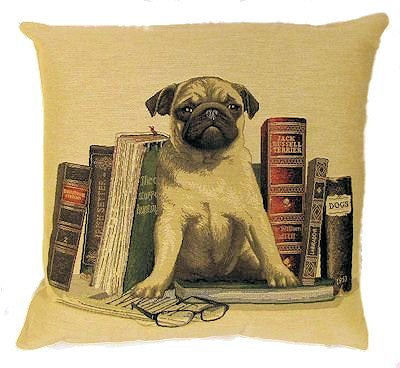 DOG PUG ANTIQUE BOOKS LIBRARY BEIGE European Belgian Tapestry Throw Pillow Cases - Decorative 18 X 18 Square Pillow Covers - Zippered Throw Pillow Case - Jacquard Woven Belgium Tapestry Cushion Covers - Fun Dressed Dog Throw Cushions - Dog Lover Gift - Pugs Library Books Teacher Student Graduation Home Decor Gifts