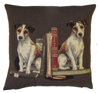 DOGS JACK RUSSELL ANTIQUE BOOKS LIBRARY BROWN European Belgian Tapestry Throw Pillow Cases - Decorative 18 X 18 Square Pillow Covers - Zippered Throw Pillow Case - Jacquard Woven Belgium Tapestry Cushion Covers - Fun Dressed Dog Throw Cushions - Dog Lover Gift - Jack Russell Library Books Teacher Student Graduation Home Decor Gifts
