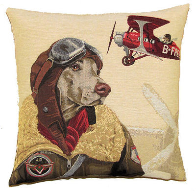 DOG PILOT WEIMARANER AND VINTAGE RED PLANE European Belgian Tapestry Throw Pillow Cases - Decorative 18 X 18 Square Pillow Covers - Zippered Throw Pillow Case - Jacquard Woven Belgium Tapestry Cushion Covers - Fun Dressed Dog Throw Cushions - Dog Lover Gift - Antique Classic Vintage Planes Home Decor