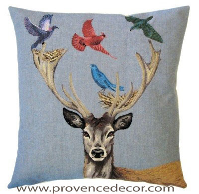 DEER WITH MULTI COLOR BIRDS Belgian Tapestry Throw Pillow Cases - Decorative 18 X 18 Square Pillow Covers - Zippered Throw Pillow Case - Jacquard Woven Belgium Tapestry Cushion Covers - Fun Forest Animals Throw Cushions - Mountain House Forest Deer Stag Birds Home Decor Gifts