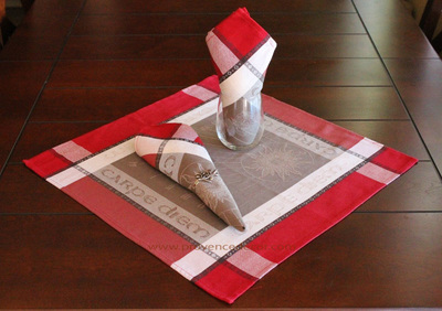 CARPE DIEM RED French Provence Jacquard Woven Cotton Napkins Set - Table Decor - French Home Decor
