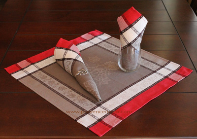 GRAPE TAUPE RED French Provence Jacquard Woven Cotton Napkins Set - Table Decor - French Home Decor